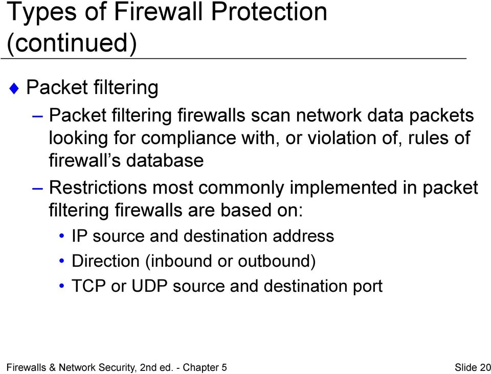Restrictions most commonly implemented in packet filtering firewalls are based on: IP source