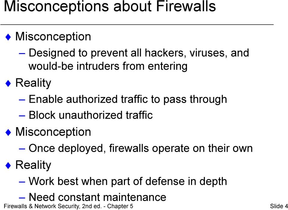 pass through Block unauthorized traffic Misconception Once deployed, firewalls