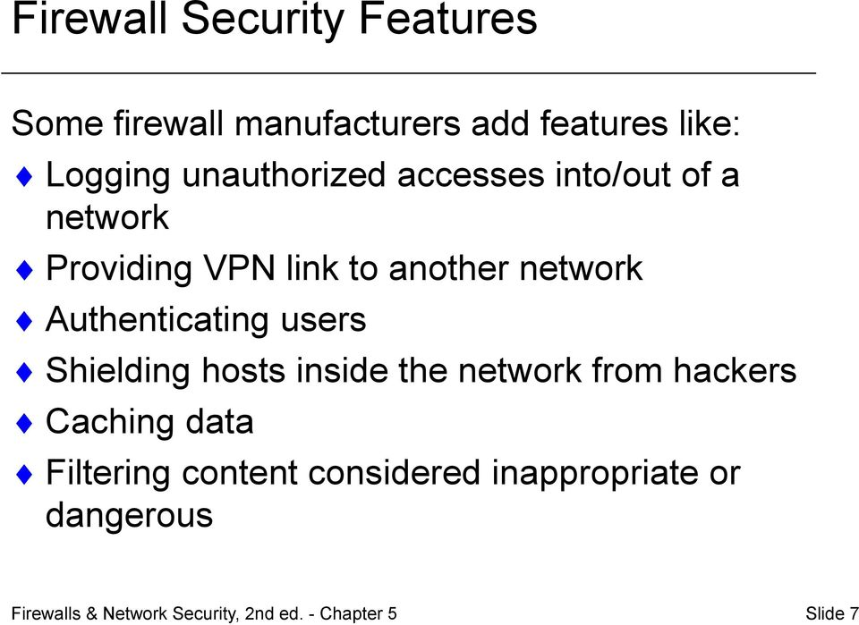 another network Authenticating users Shielding hosts inside the network from