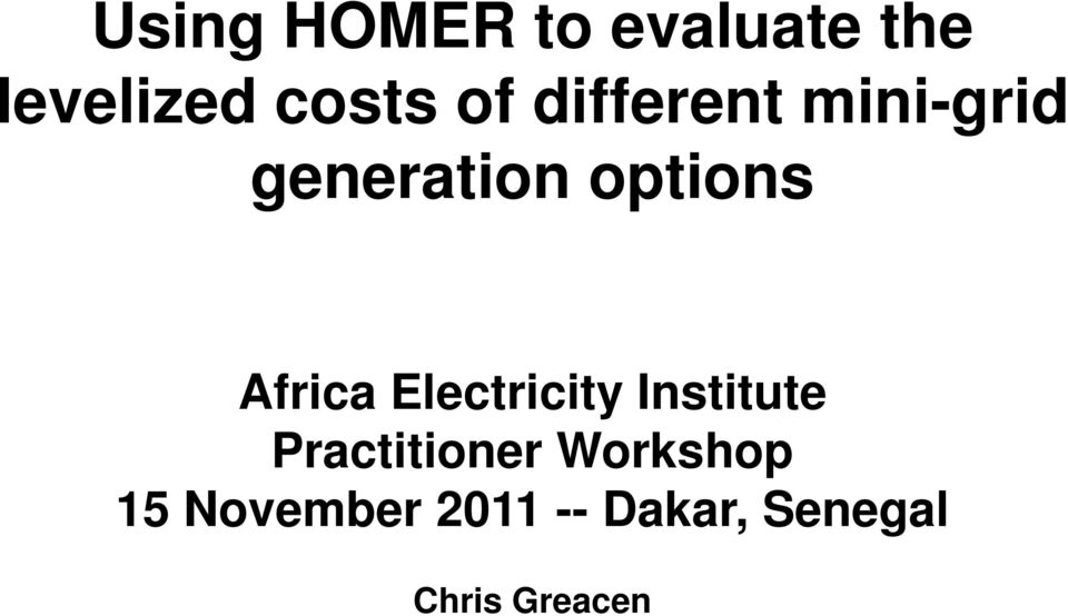 Electricity Institute Practitioner Workshop 15