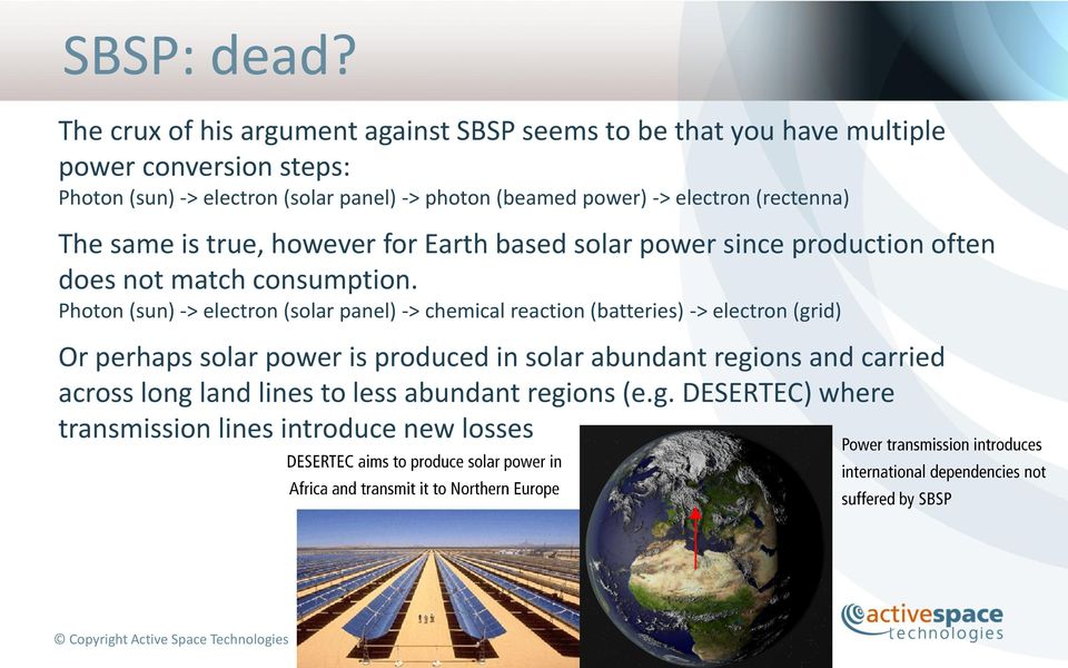 photon (beamed power) -> electron (rectenna) The same is true, however for Earth based solar power since production often does not match