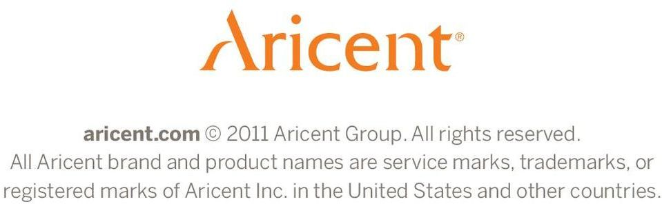 All Aricent brand and product names are service