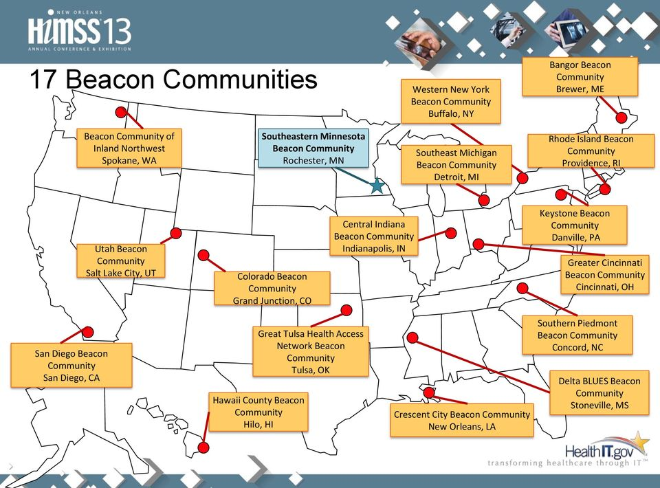 Central Indiana Beacon Community Indianapolis, IN Keystone Beacon Community Danville, PA Greater Cincinnati Beacon Community Cincinnati, OH San Diego Beacon Community San Diego, CA Great Tulsa Health