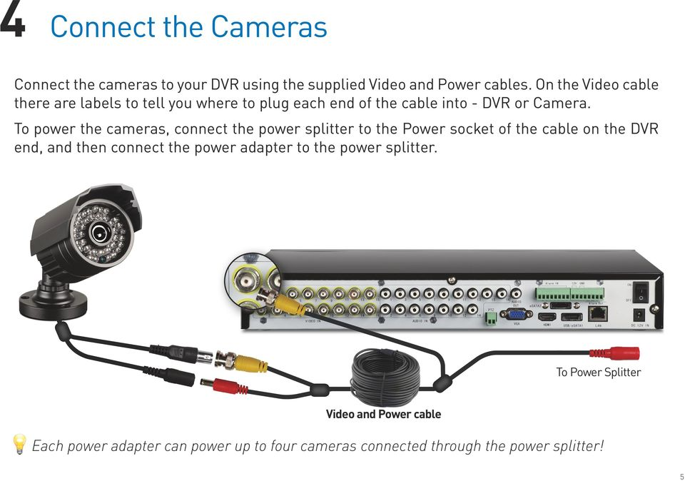 To power the cameras, connect the power splitter to the Power socket of the cable on the DVR end, and then connect the