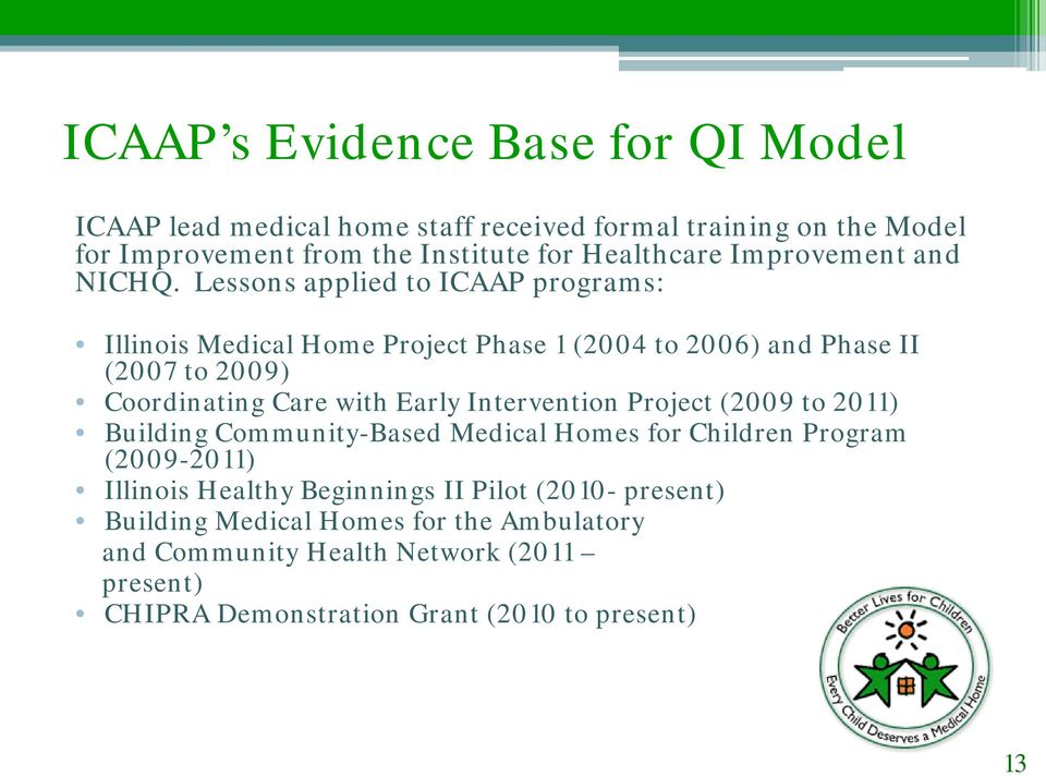 Lessons applied to ICAAP programs: Illinois Medical Home Project Phase 1 (2004 to 2006) and Phase II (2007 to 2009) Coordinating Care with Early