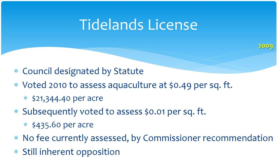 40 per acre Subsequently voted to assess $0.01 per sq. ft. $435.