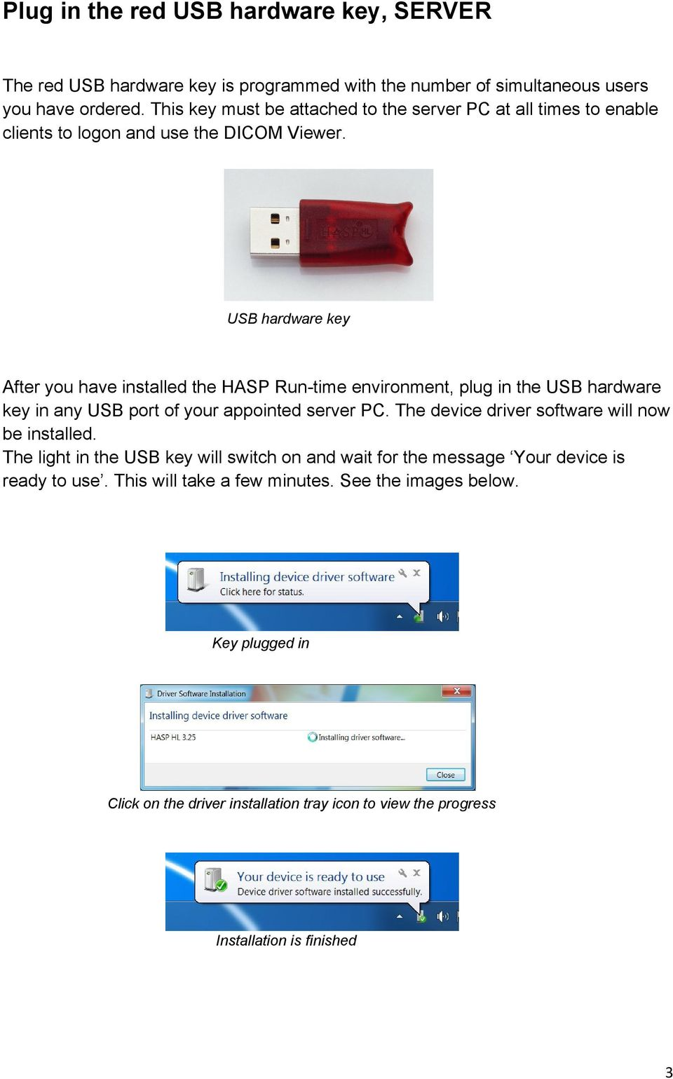 USB hardware key After you have installed the HASP Run-time environment, plug in the USB hardware key in any USB port of your appointed server PC.