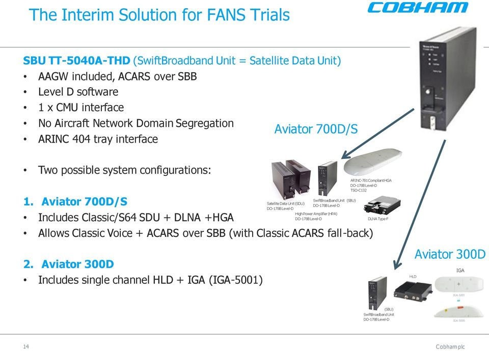 700D/S Two possible system configurations: 1.