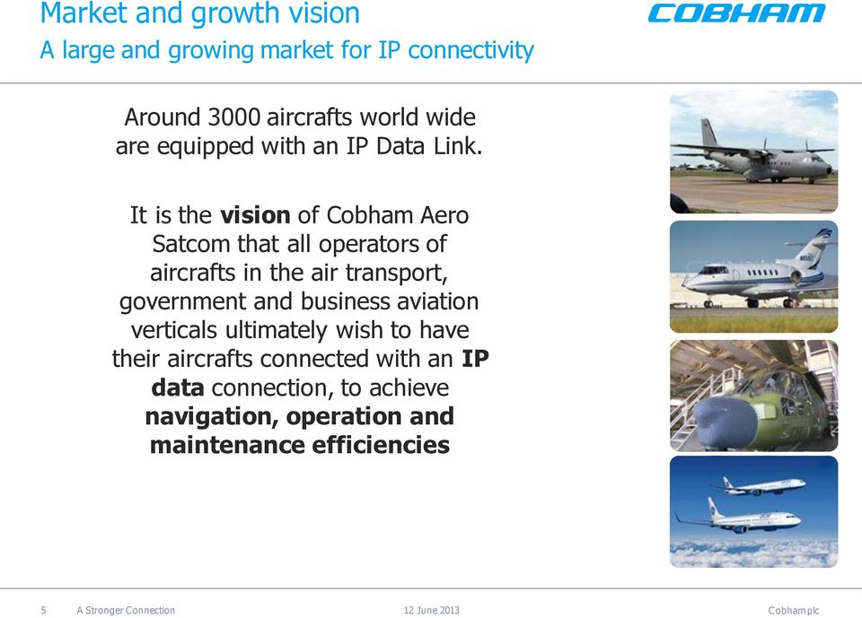 It is the vision of Cobham Aero Satcom that all operators of aircrafts in the air transport, government and
