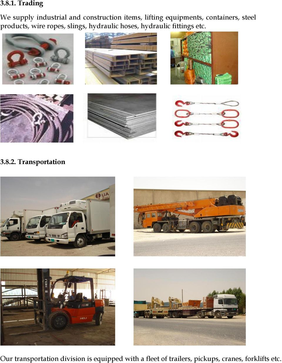 equipments, containers, steel products, wire ropes, slings, hydraulic