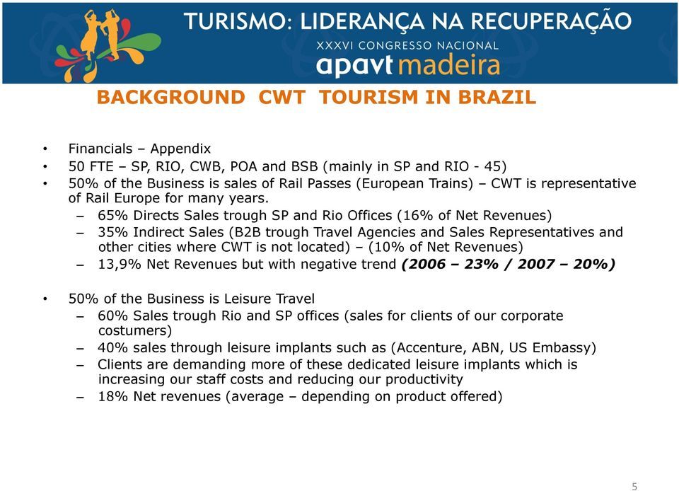 65% Directs Sales trough SP and Rio Offices (16% of Net Revenues) 35% Indirect Sales (B2B trough Travel Agencies and Sales Representatives and other cities where CWT is not located) (10% of Net