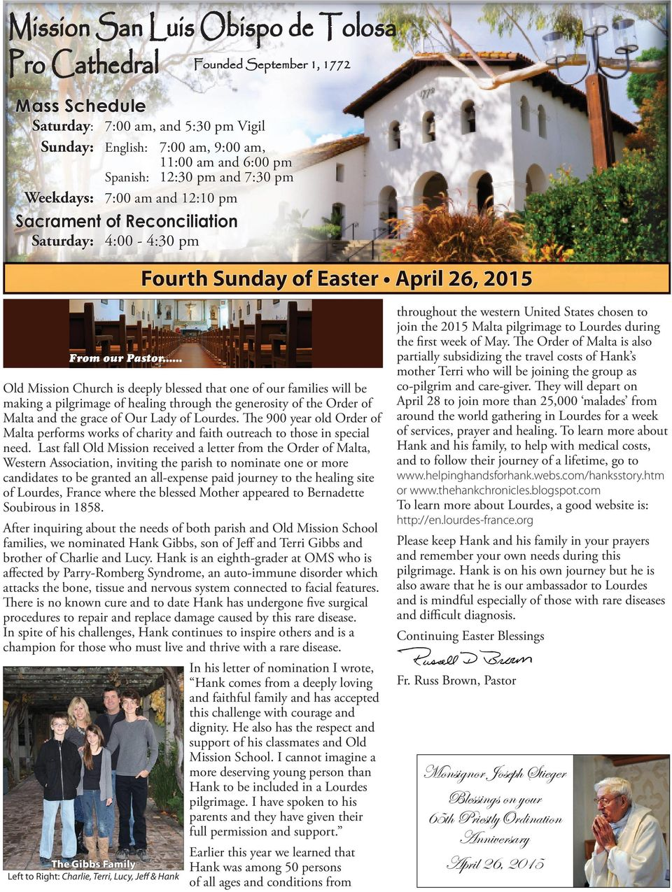 Easter ast ste ster ter A April prril 26, p pril 26, 201 2015 20 2015 From our Pastor.