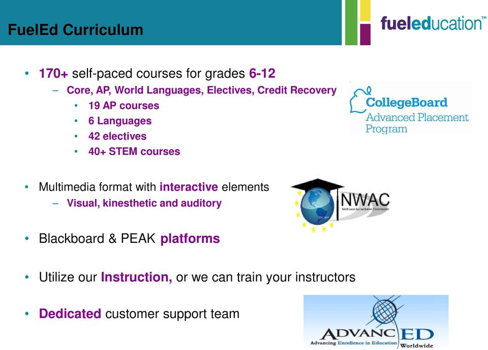 auditory Award-winning, rigorous curriculum and courseware Blackboard & PEAK platforms Utilize our Instruction, or we