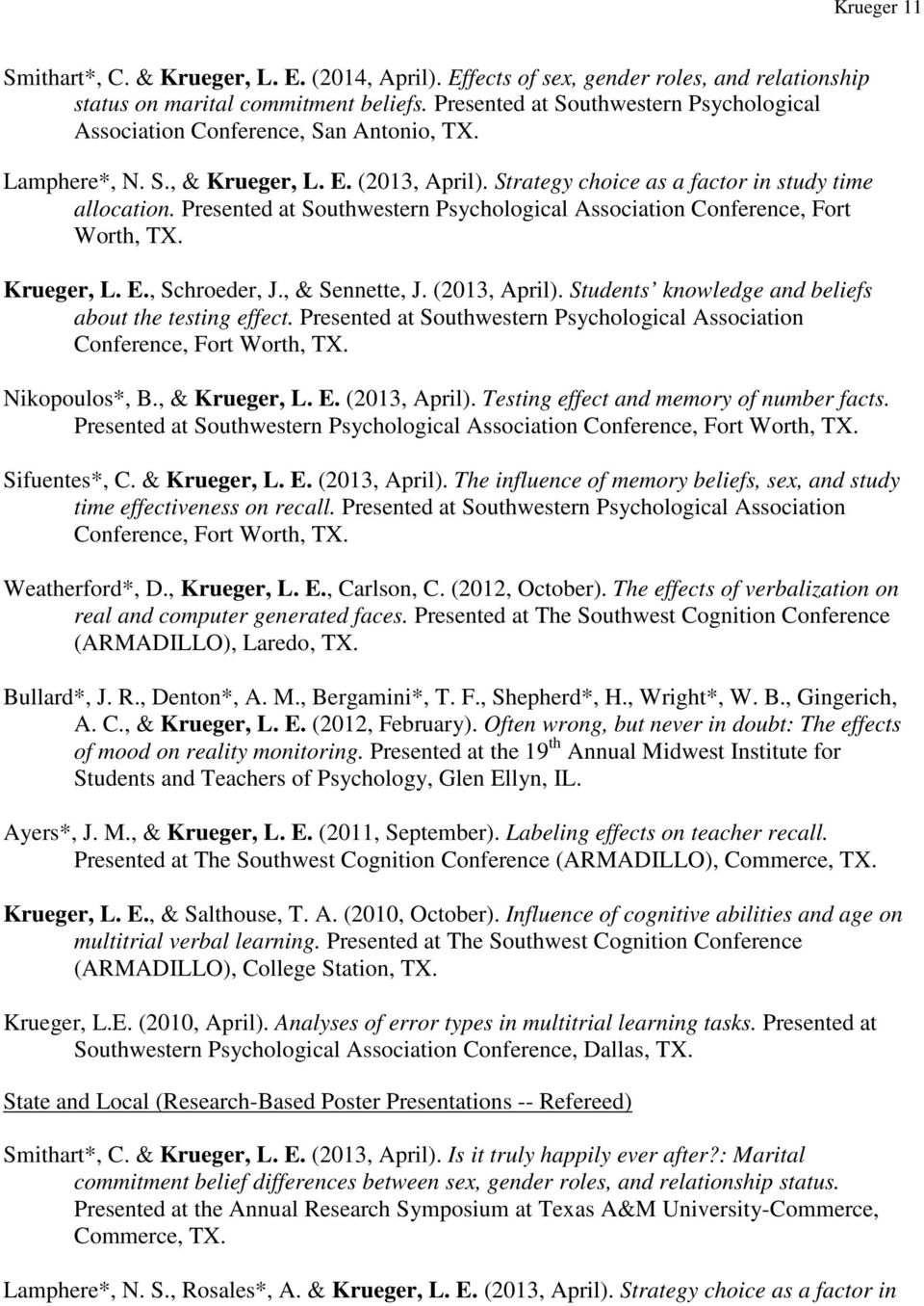 Presented at Southwestern Psychological Association Conference, Fort Worth, TX. Krueger, L. E., Schroeder, J., & Sennette, J. (2013, April). Students knowledge and beliefs about the testing effect.