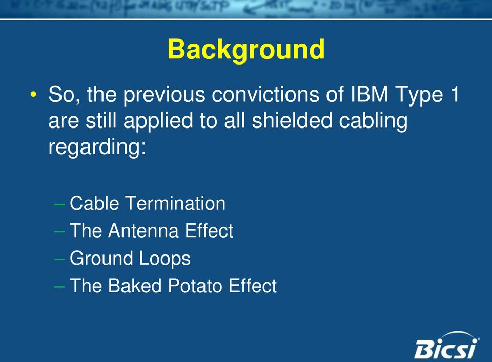 cabling regarding: Cable Termination The