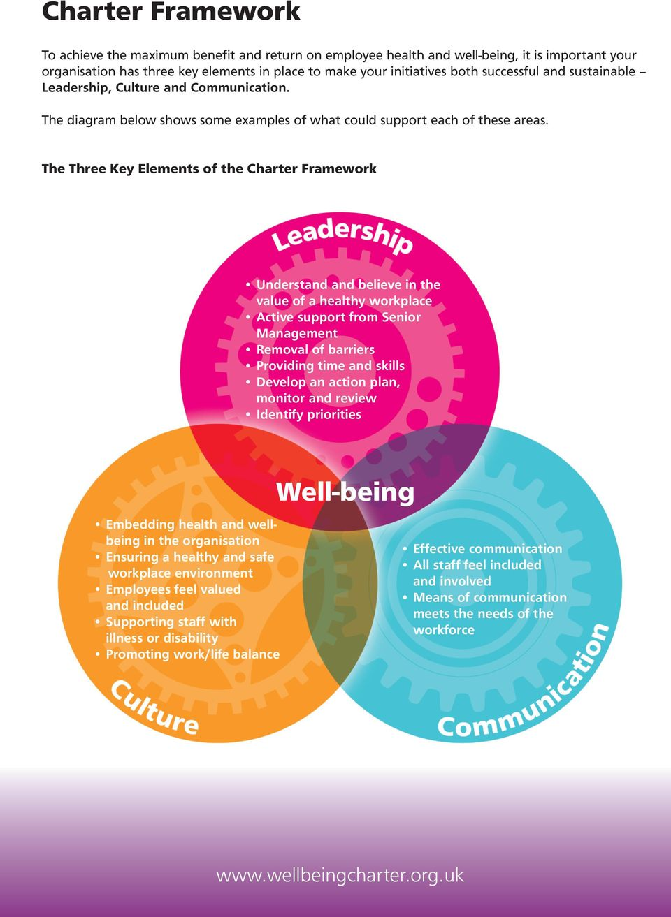 The Three Key Elements of the Charter Framework Understand and believe in the value of a healthy workplace Active support from Senior Management Removal of barriers Providing time and skills Develop