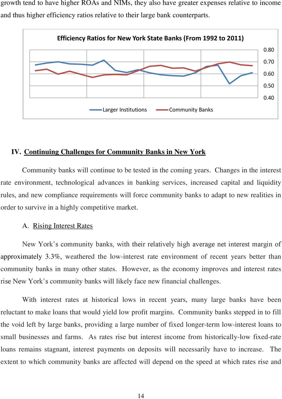 Continuing Challenges for Community Banks in New York Community banks will continue to be tested in the coming years.