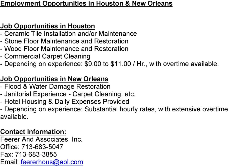Job Opportunities in New Orleans - Flood & Water Damage Restoration - Janitorial Experience - Carpet Cleaning, etc.