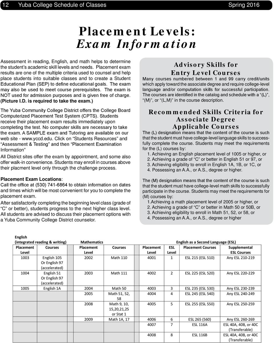 The exam may also be used to meet course prerequisites. The exam is NOT used for admission purposes and is given free of charge. (Picture I.D. is required to take the exam.