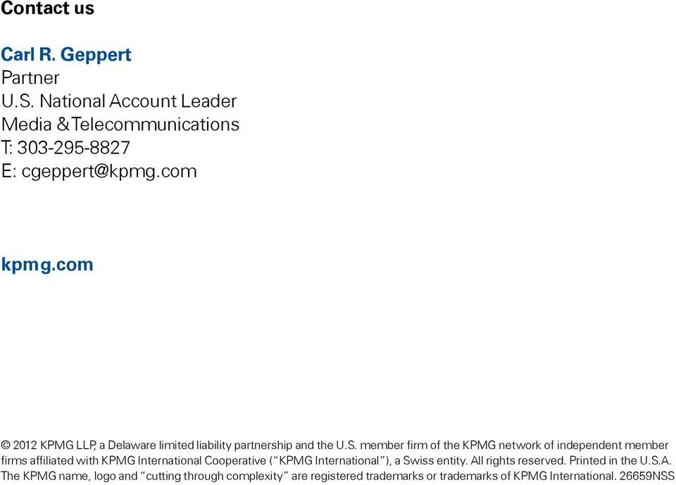 member firm of the KPMG network of independent member firms affiliated with KPMG International Cooperative ( KPMG International