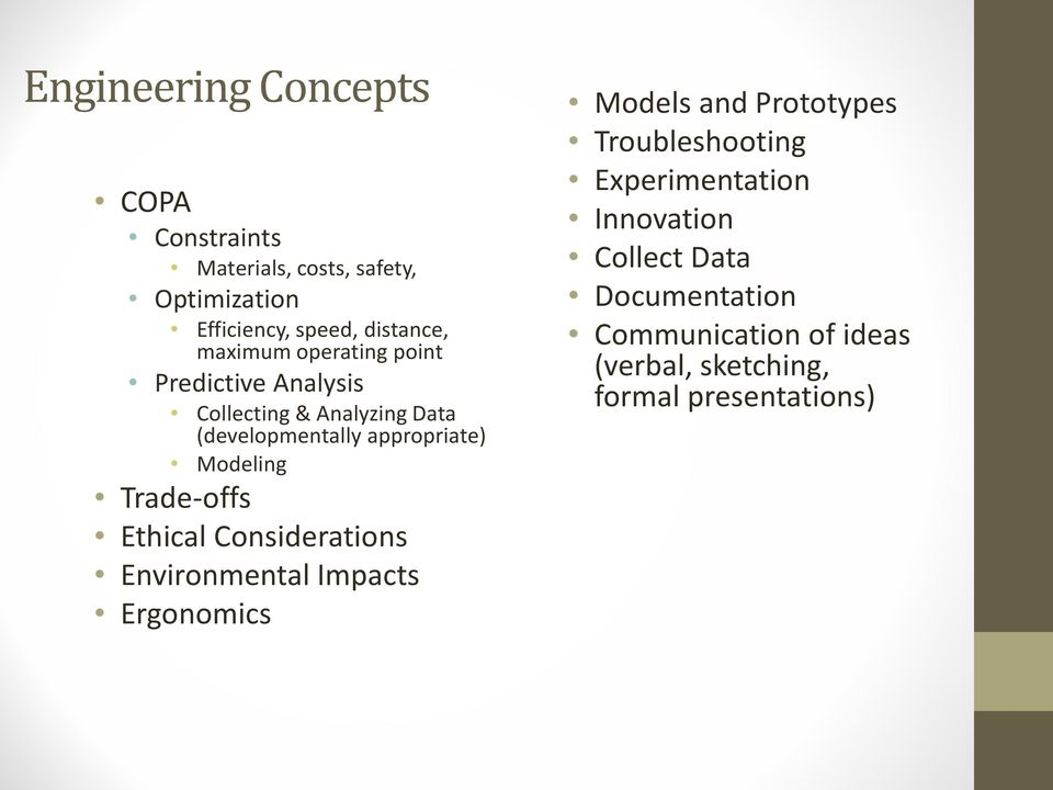 Modeling Trade-offs Ethical Considerations Environmental Impacts Ergonomics Models and Prototypes