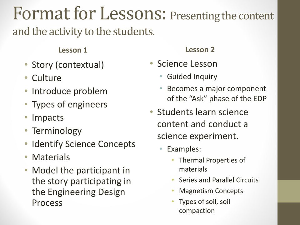 participant in the story participating in the Engineering Design Process Lesson 2 Science Lesson Guided Inquiry Becomes a major component of