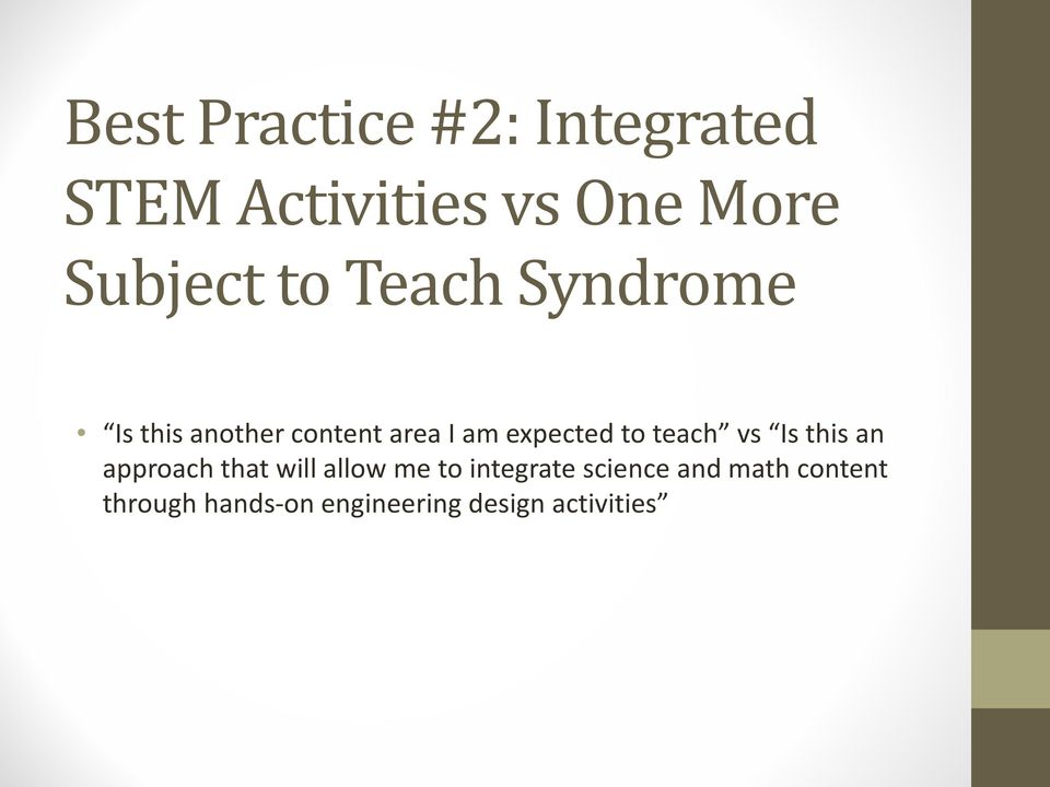 teach vs Is this an approach that will allow me to integrate