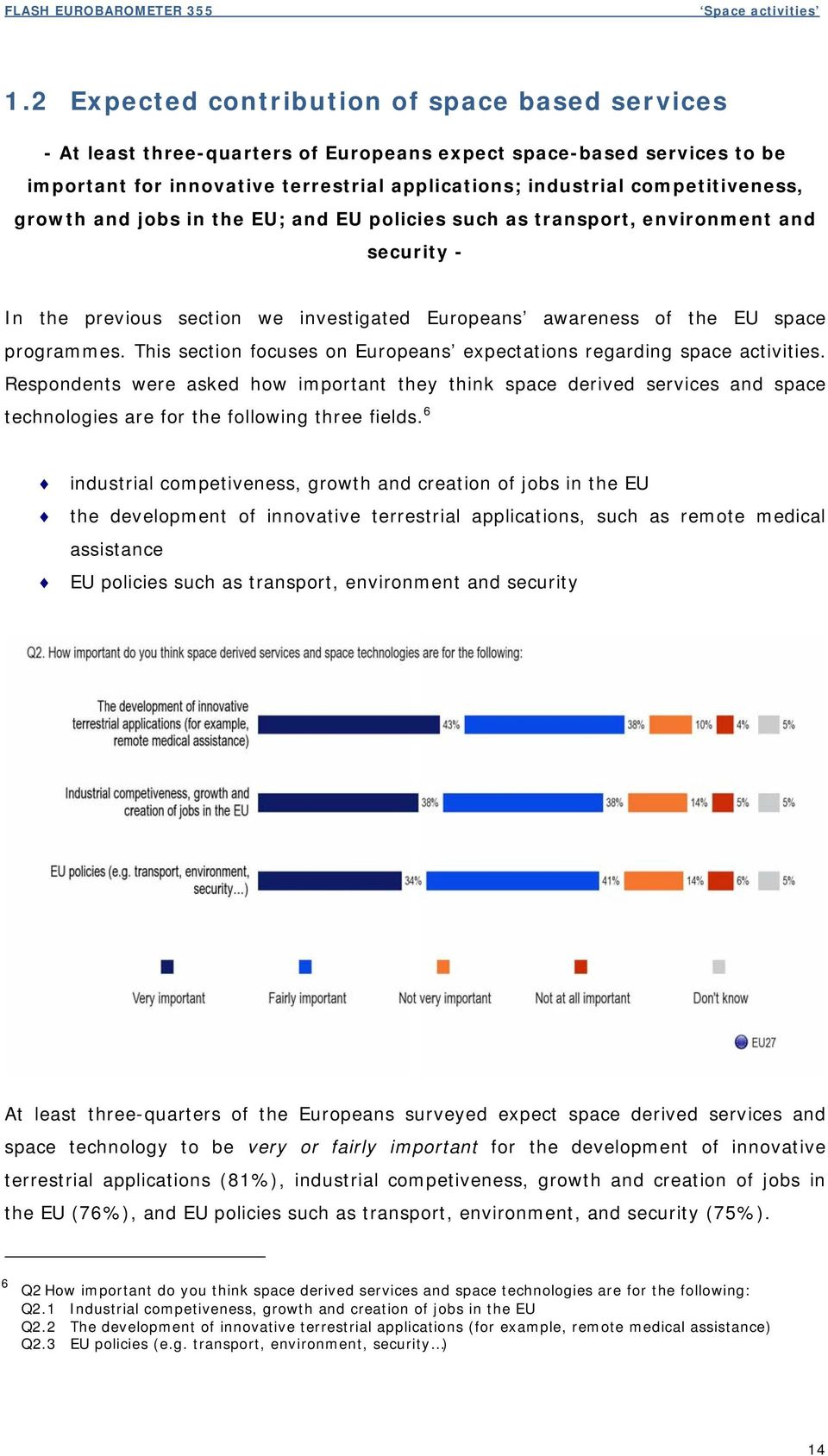 growth and jobs in the EU; and EU policies such as transport, environment and security - In the previous section we investigated Europeans awareness of the EU space programmes.