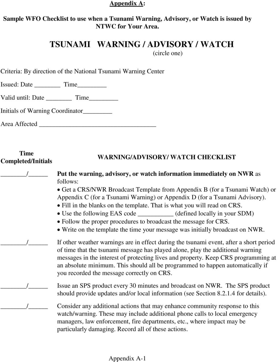 Time Completed/Initials WARNING/ADVISORY/ WATCH CHECKLIST Put the warning, advisory, or watch information immediately on NWR as follows: Get a CRS/NWR Broadcast Template from Appendix B (for a