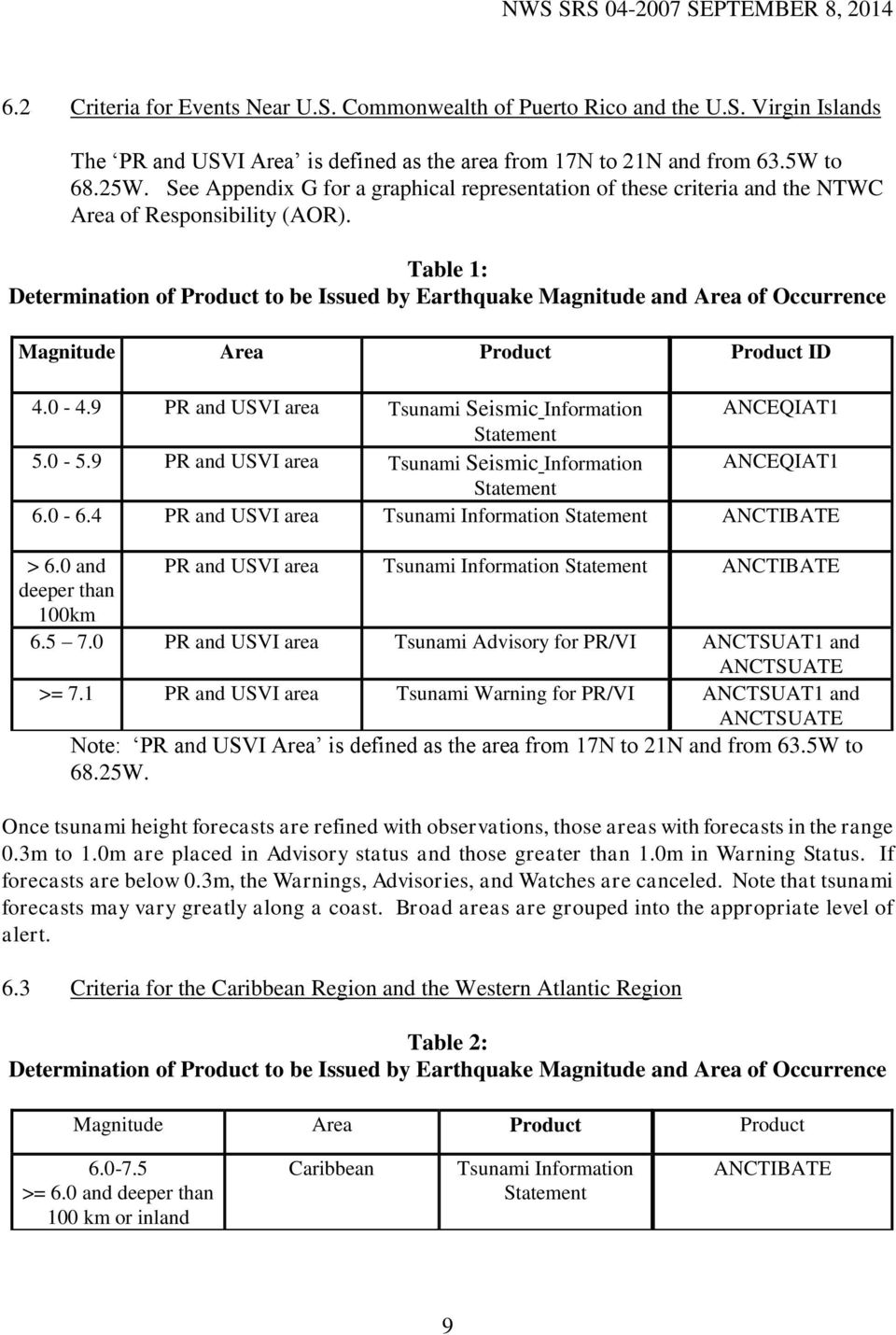 Table 1: Determination of Product to be Issued by Earthquake Magnitude and Area of Occurrence Magnitude Area Product Product ID 4.0-4.