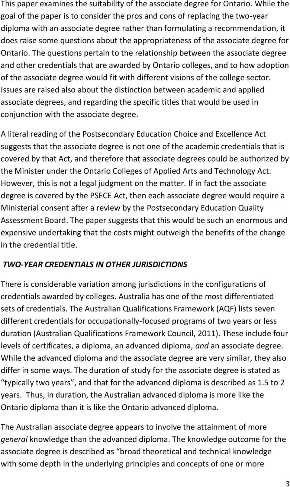 the appropriateness of the associate degree for Ontario.