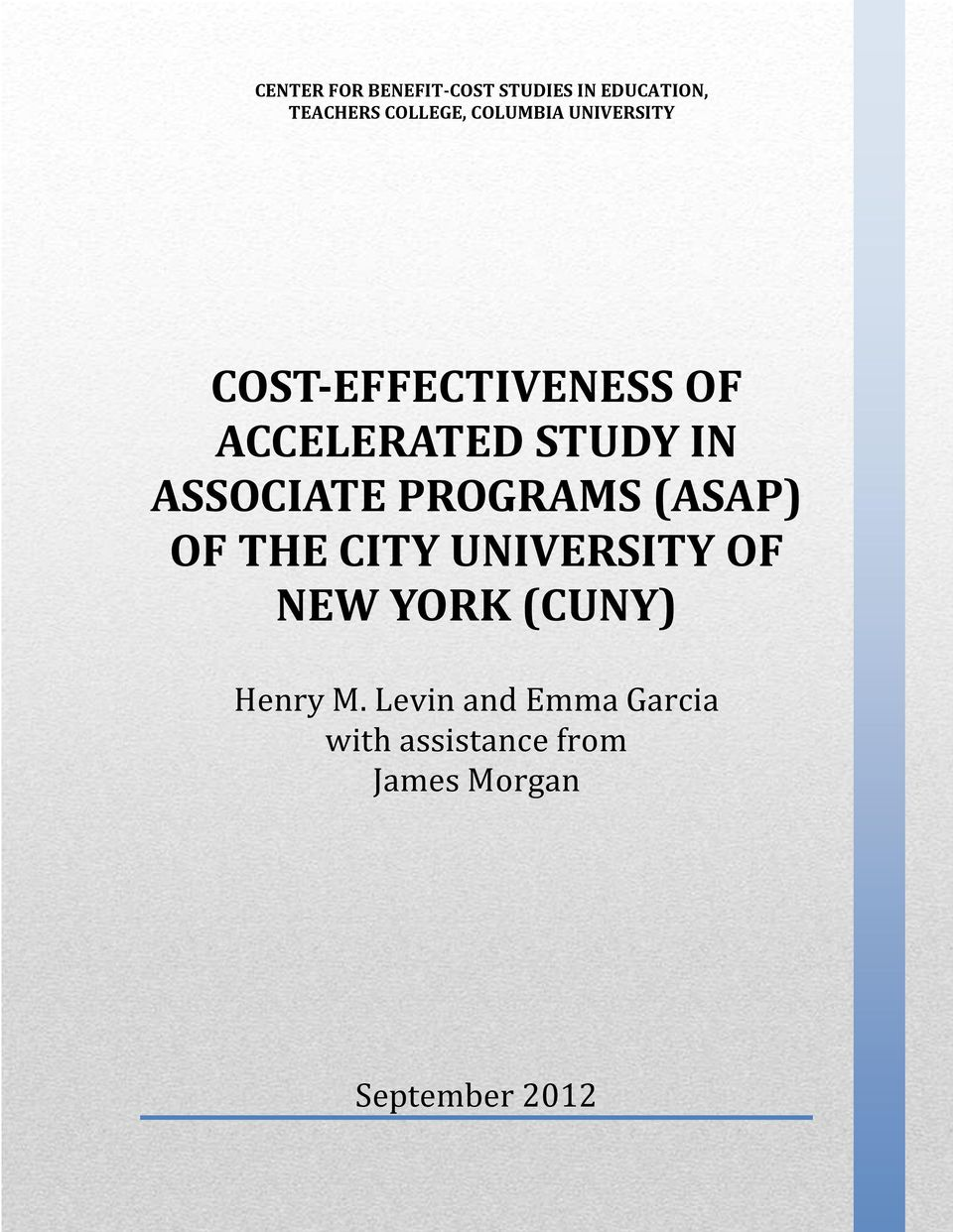 ASSOCIATE PROGRAMS (ASAP) OF THE CITY UNIVERSITY OF NEW YORK (CUNY)