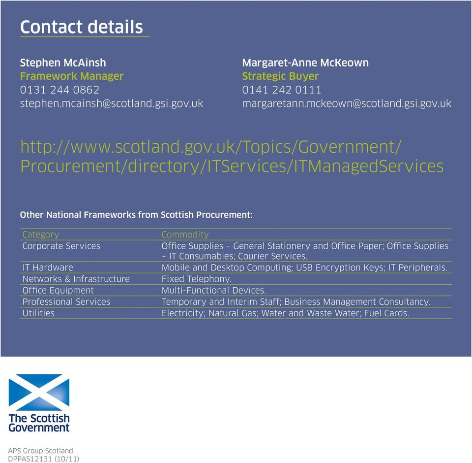 uk/topics/government/ Procurement/directory/ITServices/ITManagedServices Other National Frameworks from Scottish Procurement: Category Corporate Services IT Hardware Networks & Infrastructure Office