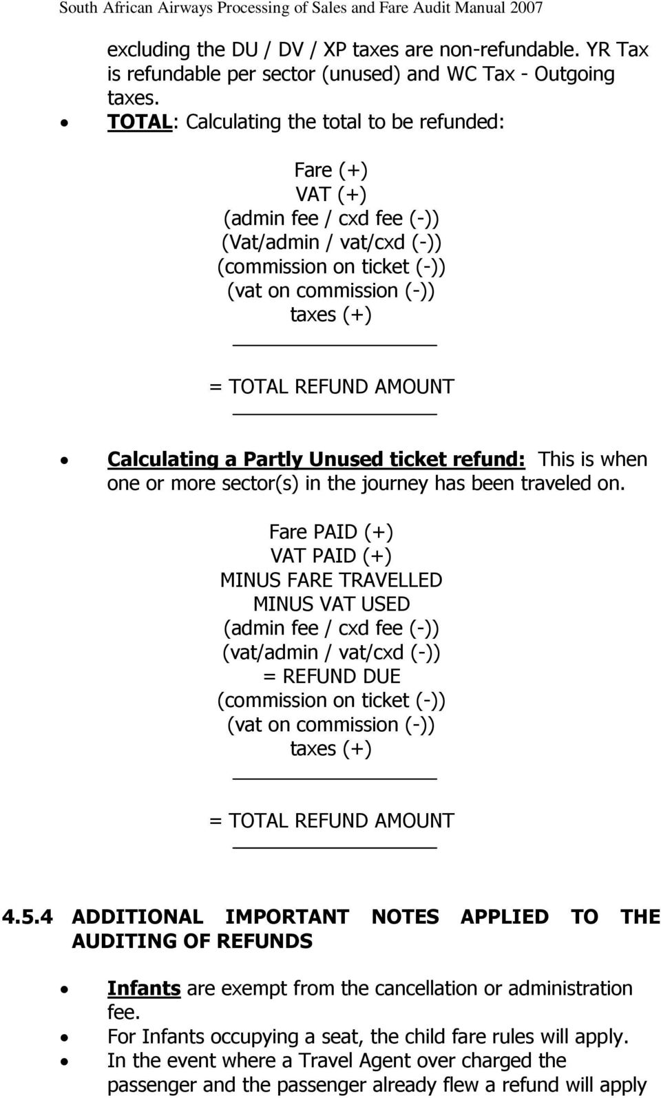 Calculating a Partly Unused ticket refund: This is when one or more sector(s) in the journey has been traveled on.