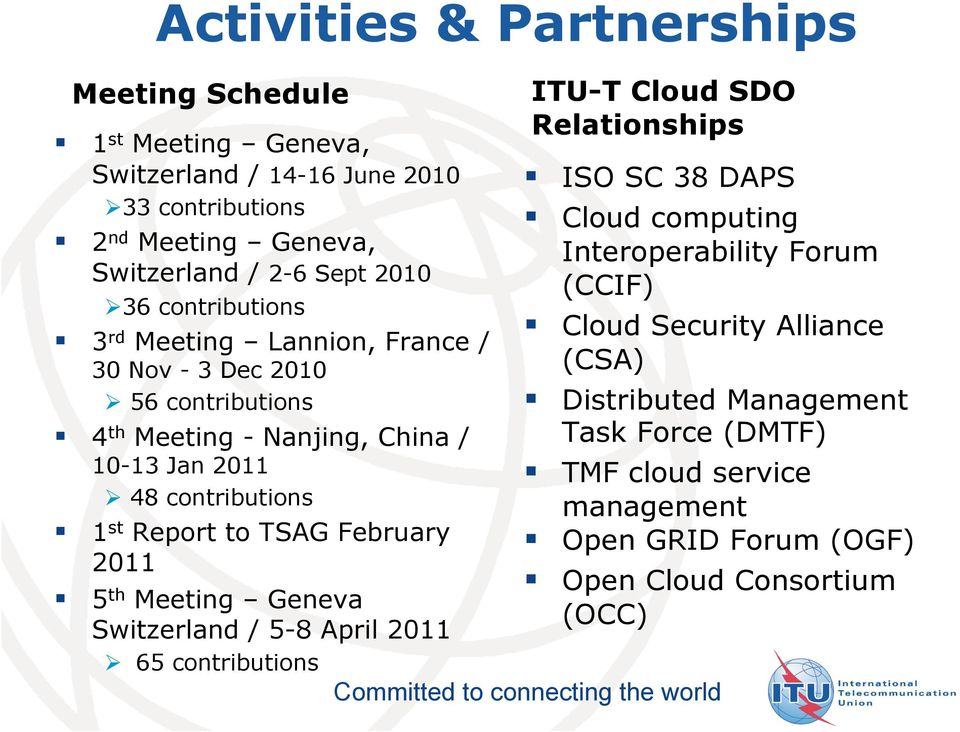 TSAG February 2011 5 th Meeting Geneva Switzerland / 5-8 April 2011 65 contributions ITU-T Cloud SDO Relationships ISO SC 38 DAPS Cloud computing Interoperability