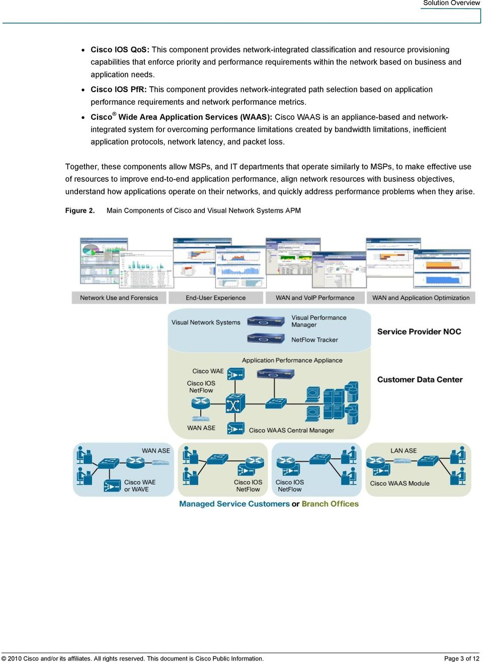 Cisco Wide Area Application Services (WAAS): Cisco WAAS is an appliance-based and networkintegrated system for overcoming performance limitations created by bandwidth limitations, inefficient