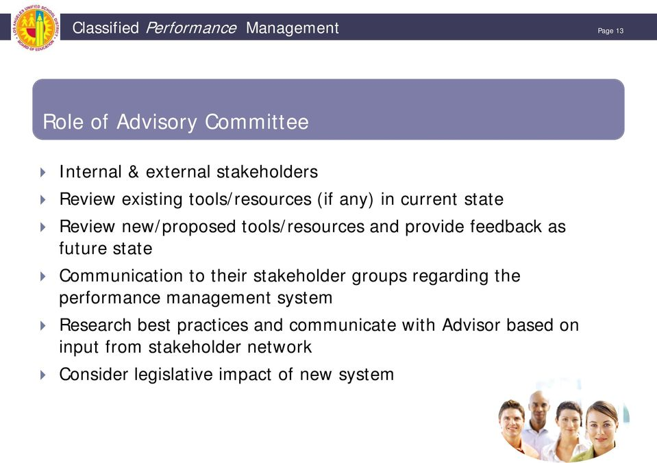 future state Communication to their stakeholder groups regarding the performance management system Research best