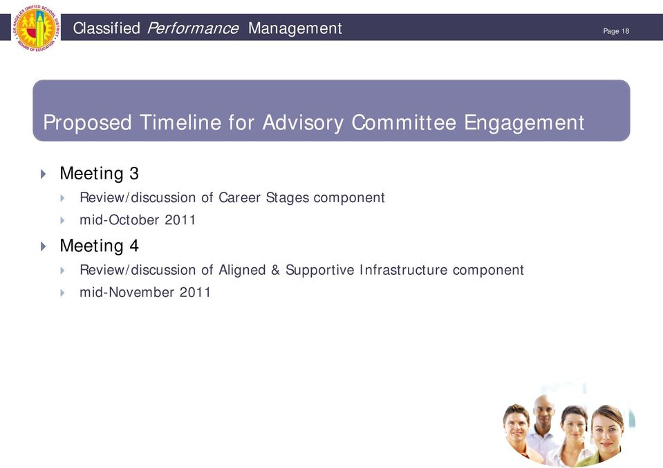 Career Stages component mid-october 2011 Meeting 4