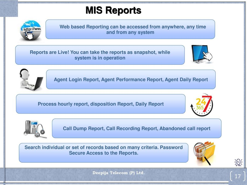 Agent Daily Report Process hourly report, disposition Report, Daily Report Call Dump Report, Call Recording Report,