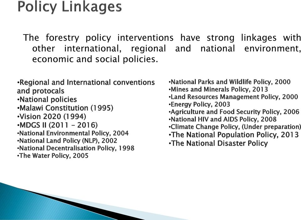 Land Policy (NLP), 2002 National Decentralisation Policy, 1998 The Water Policy, 2005 National Parks and Wildlife Policy, 2000 Mines and Minerals Policy, 2013 Land Resources