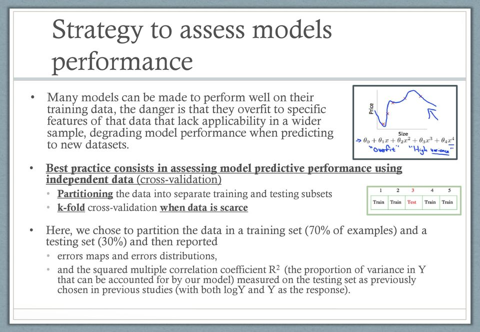 Best practice consists in assessing model predictive performance using independent data (cross-validation) Partitioning the data into separate training and testing subsets k-fold cross-validation