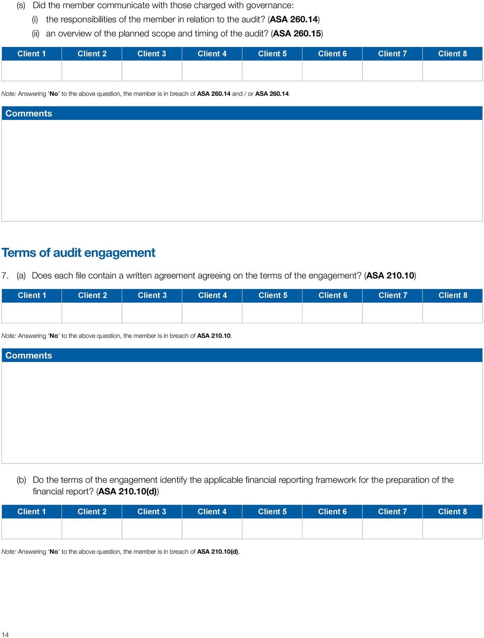 (a) Does each file contain a written agreement agreeing on the terms of the engagement? (ASA 210.