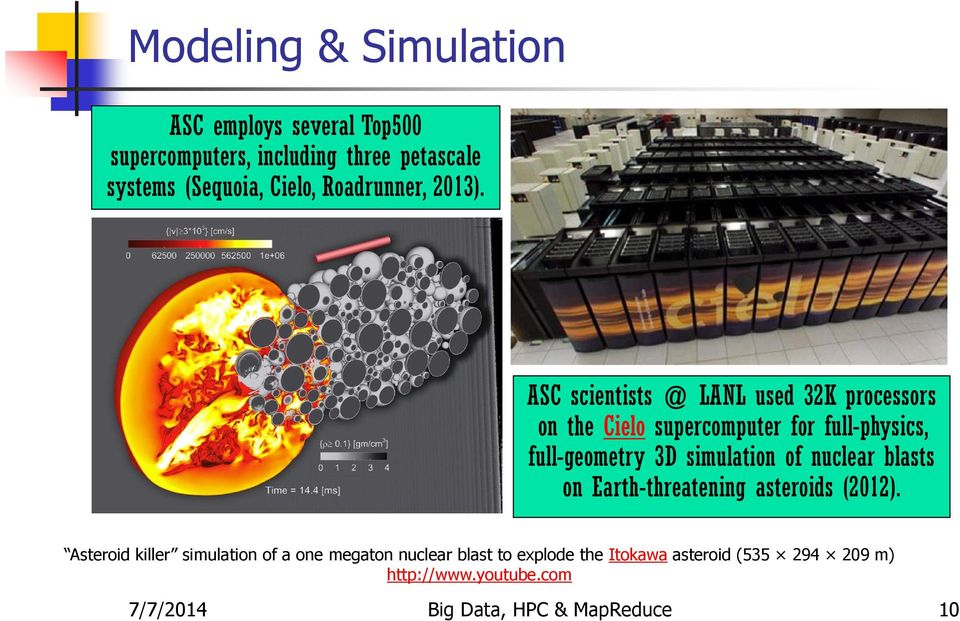 ASC scientists @ LANL used 32K processors on the Cielo supercomputer for full-physics, full-geometry 3D simulation