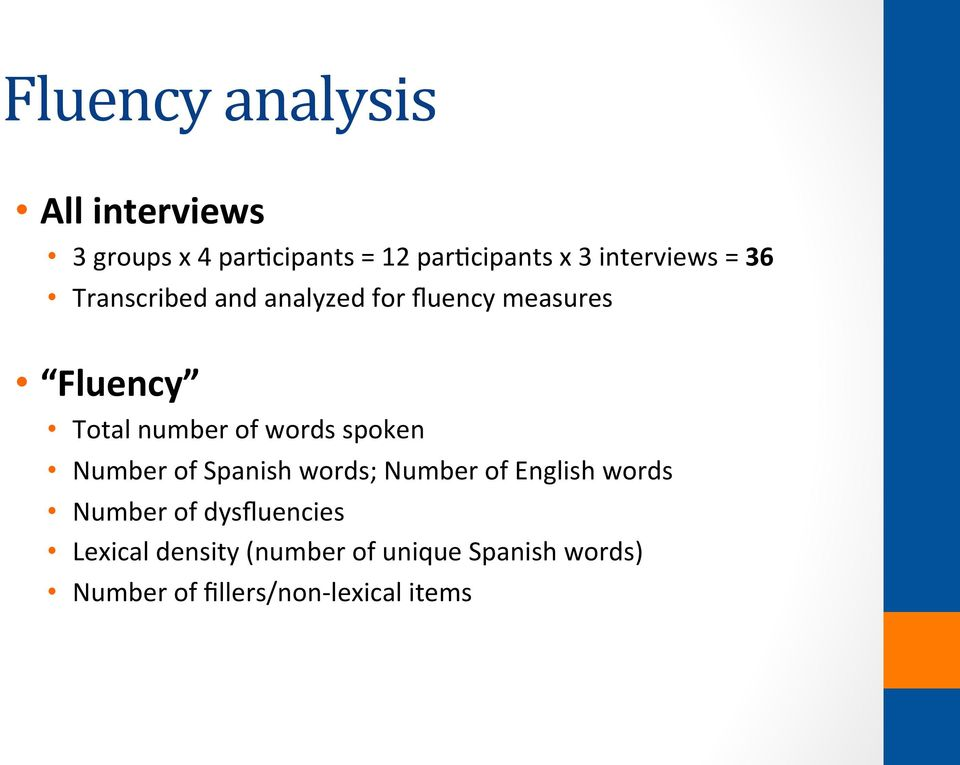 of words spoken Number of Spanish words; Number of English words Number of