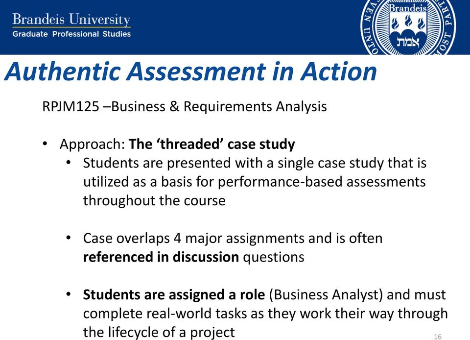 course Case overlaps 4 major assignments and is often referenced in discussion questions Students are assigned a