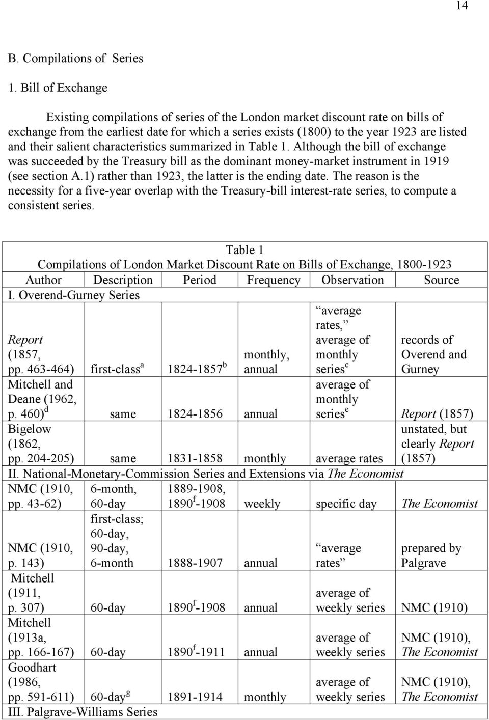 salient characteristics summarized in Table 1. Although the bill of exchange was succeeded by the Treasury bill as the dominant money-market instrument in 1919 (see section A.