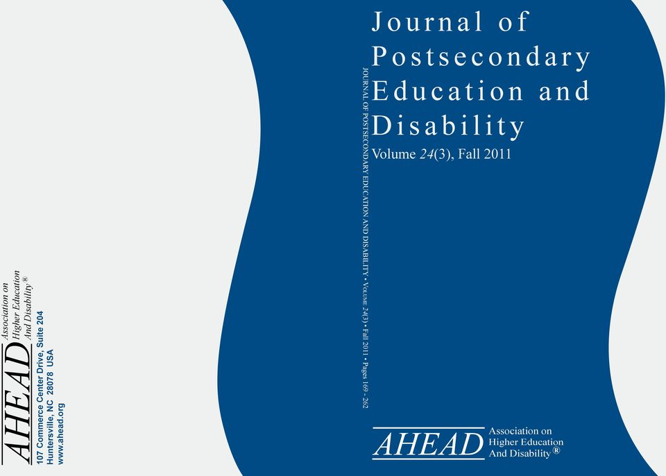 org Journal of Postsecondary Education and Disability Vo l u m e 24(3) Fall 2011 Pages