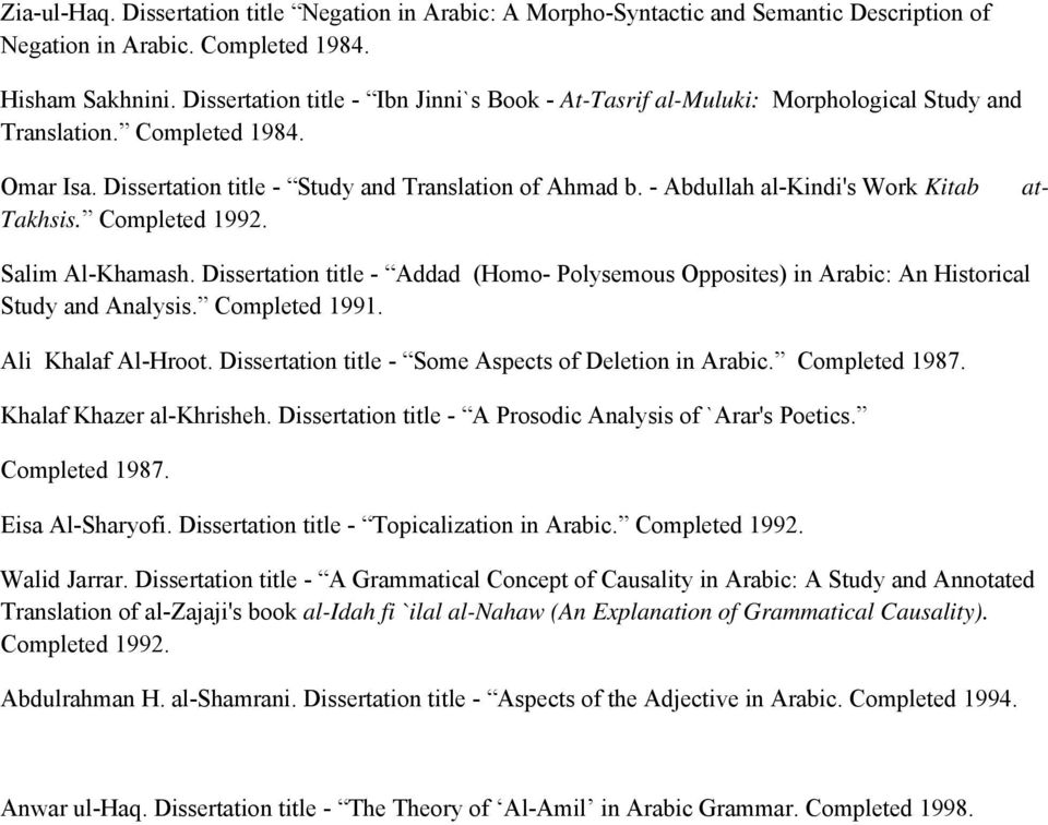 - Abdullah al-kindi's Work Kitab Takhsis. Completed 1992. at- Salim Al-Khamash. Dissertation title - Addad (Homo- Polysemous Opposites) in Arabic: An Historical Study and Analysis. Completed 1991.