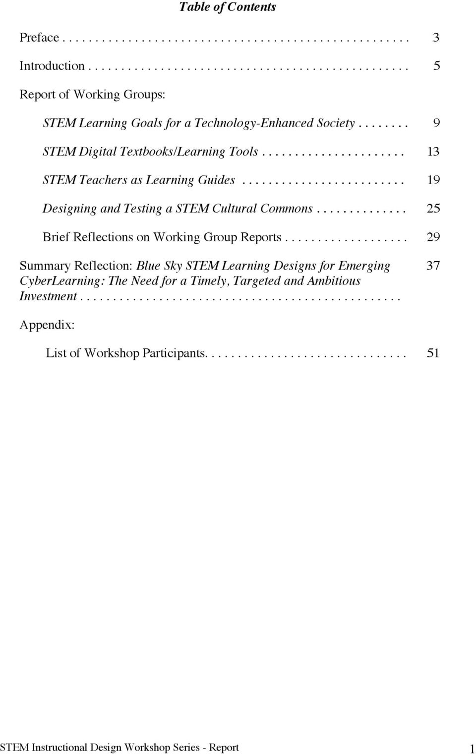 ............. 25 Brief Reflections on Working Group Reports................... 29 Summary Reflection: Blue Sky STEM Learning Designs for Emerging CyberLearning: The Need for a Timely, Targeted and Ambitious Investment.
