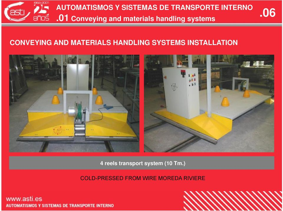 SYSTEMS INSTALLATION 4 reels transport